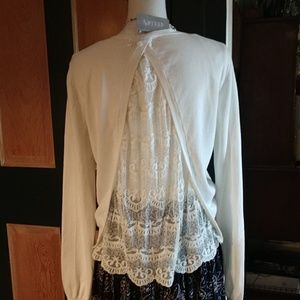 NWT Delia's ivory sweater top w/lace insert